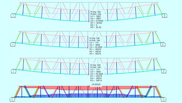 Dibujo de varios puentes modulares