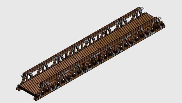 dibujo puente modular madera